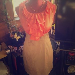 👗Coral and tan silky dress